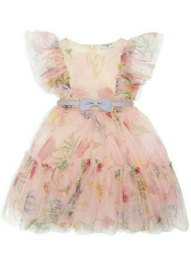 Floral Printed Tulle Party Dress