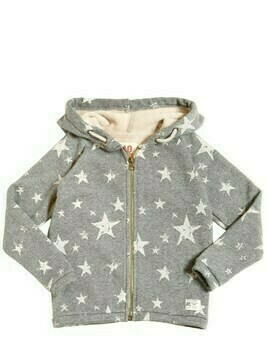 Hooded Stars Print Cotton Sweatshirt