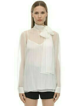 Self-tie Chiffon Collar Shirt