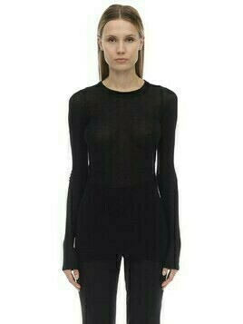 Viscose & Silk Ribbed Jersey Top