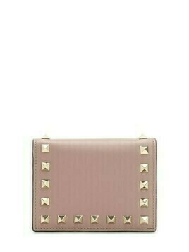 Rockstud Leather Compact Wallet