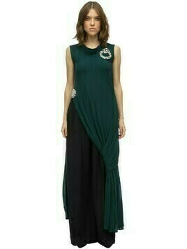Layered & Draped Fluid Jersey Dress Top