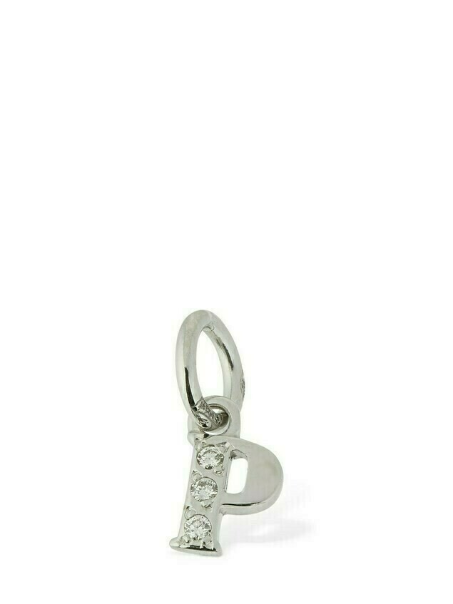 "18kt White Gold ""p"" Charm W/ Diamond"
