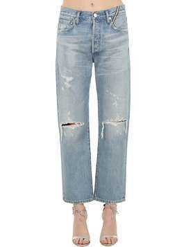 CROPPED DISTRESSED COTTON DENIM JEANS