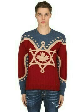 Maple Leaf Glittered Wool Knit Sweater