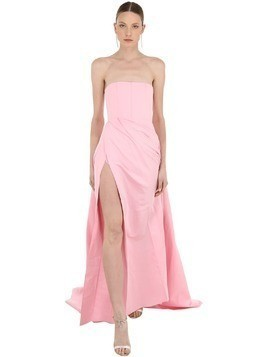 LONG STRAPLESS SILK GROSGRAIN DRESS