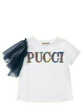 Cotton Jersey T-shirt W/ Tulle