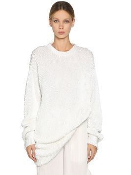 OVERSIZE SEQUINED COTTON KNIT SWEATER