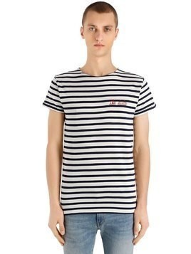 THE DUDE STRIPED COTTON JERSEY T-SHIRT