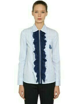Ruffled Zip-up Striped Cotton Shirt