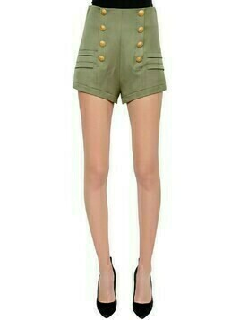 High Rise Wool Canvas Shorts