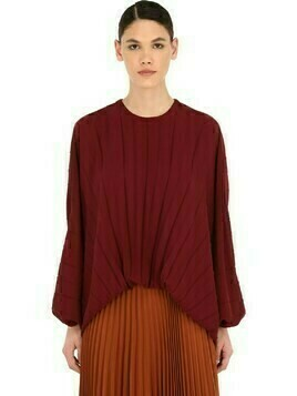Pleated Silk Georgette Balloon Top