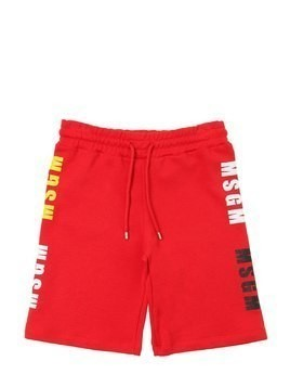 LOGO PRINTED COTTON SWEAT SHORTS