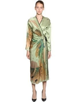 ASIAN PRINT SILK SATIN WRAP DRESS
