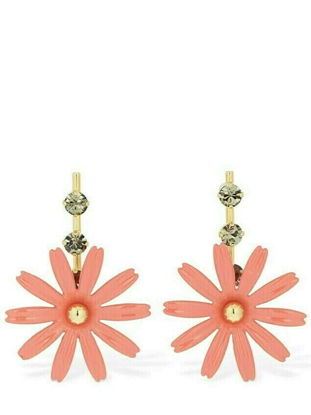 Flower Drop Earrings W / Crystal