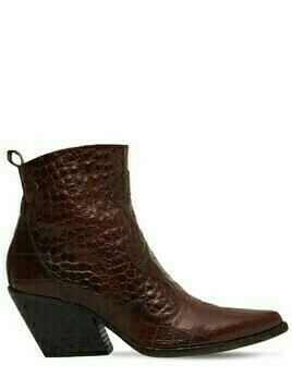 70mm Croc Embossed Leather Boots