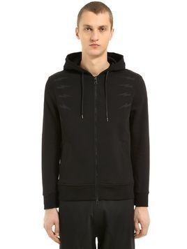 BOLTS HOODED ZIP-UP JERSEY SWEATSHIRT