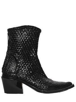 40MM RODEO WOVEN LEATHER ANKLE BOOTS