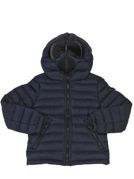 HOODED NYLON DOWN JACKET W/ LENSES