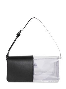 LEATHER & PVC SHOULDER BAG