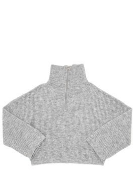 WOOL BLEND RIB KNIT TURTLENECK SWEATER