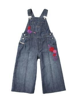 FLORAL EMBROIDERED LIGHT DENIM OVERALLS