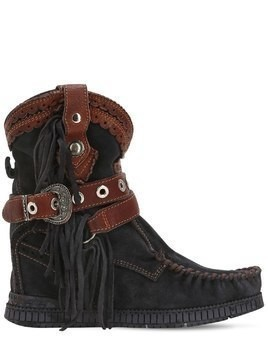 70MM ARYA FRINGED SUEDE BOOTS