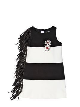 STRIPED MILANO JERSEY DRESS W/ FRINGE
