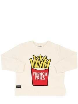 FRENCH FRIES PRINT COTTON SWEATSHIRT