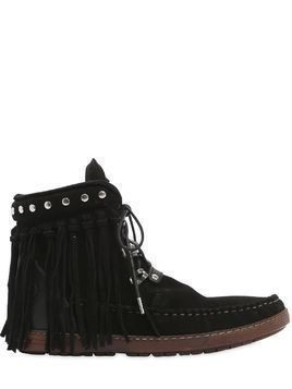 20MM ZOEY FRINGED SUEDE ANKLE BOOTS