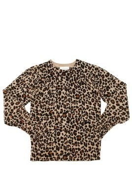 LEOPARD PRINT WOOL BLEND KNIT SWEATER