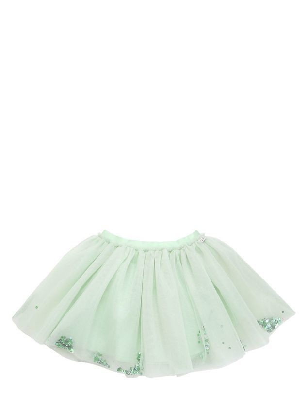 GATHERED STRETCH TULLE SKIRT W/ SEQUINS