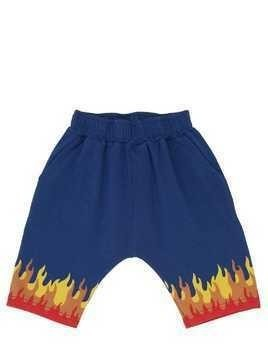 FLAMES PRINTED COTTON SWEAT SHORTS
