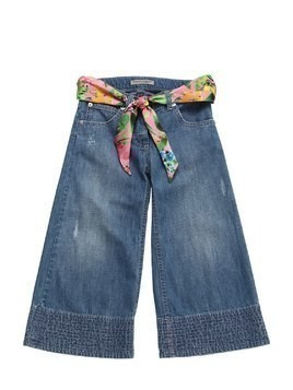 COTTON DENIM JEANS W/ SATIN BELT