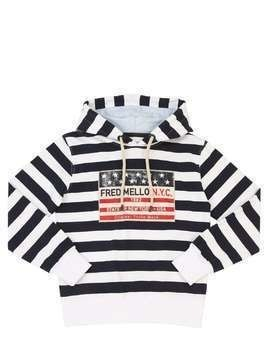STRIPED COTTON SWEATSHIRT HOODIE
