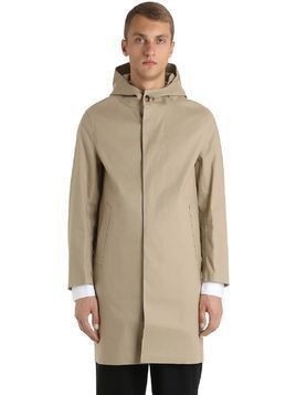 HOODED RUBBERIZED COTTON COAT