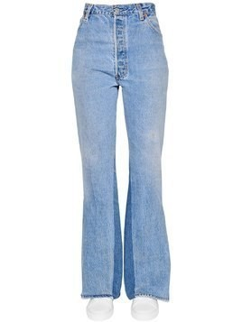 SLIT FLARED COTTON DENIM JEANS