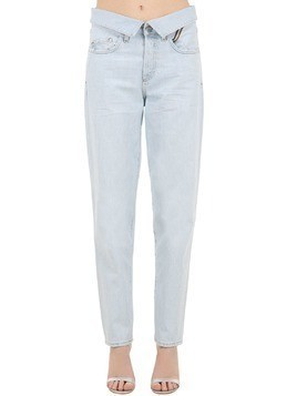HIGH WAIST STRAIGHT COTTON DENIM JEANS
