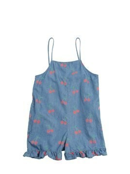 CHERRY PRINTED COTTON CHAMBRAY ROMPER