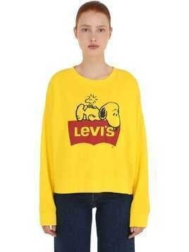 SNOOPY LOGO PRINT BOXY COTTON SWEATSHIRT