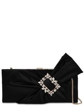 TRIANON SATIN CLUTCH W/ EMBELLISHED BOW