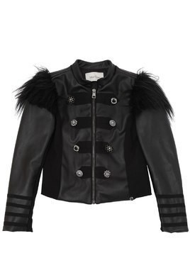 FAUX LEATHER & FAUX FUR CASUAL JACKET