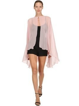 FLARED SILK CHIFFON CAPE