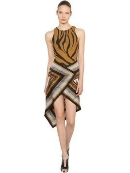 ANIMALIER TWILL & SATIN SCARF DRESS
