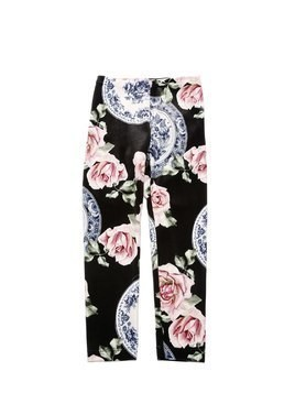 ROSES PRINTED VELVET LEGGINGS