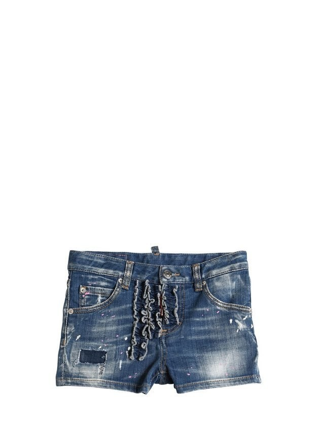 DESTROYED & PAINTED STRETCH DENIM SHORTS