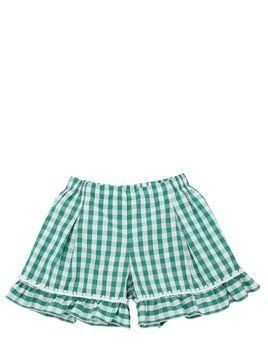 GINGHAM PRINT COTTON SHORTS