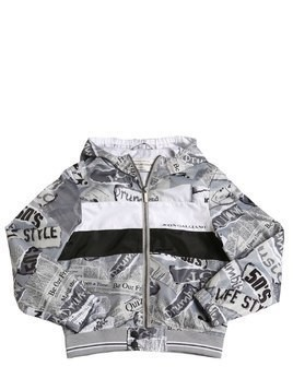 GAZETTE PRINT NYLON BOMBER JACKET