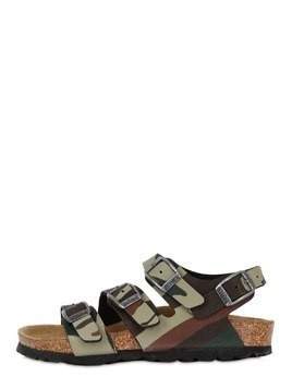 CANBERRA CAMO FAUX LEATHER SANDALS