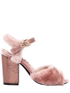 90MM FAUX FUR & METALLIC LEATHER SANDALS